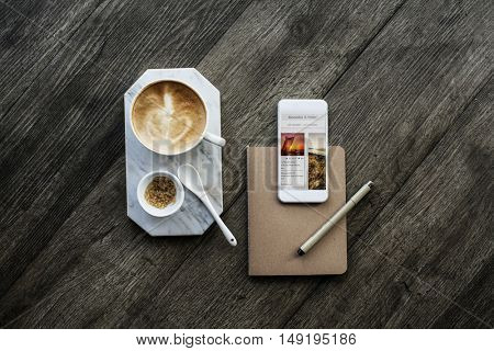 Coffee Shop Cafe Latte Cappuccino Technology Concept