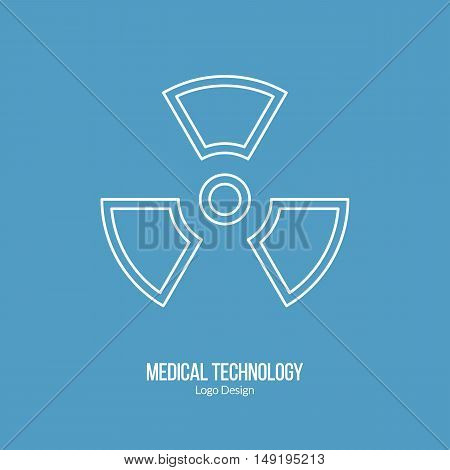Biohazard sign symbol. Single logo in modern thin line style isolated on blue background. Outline medical symbol. Simple mono linear pictogram. Stroke vector logotype template.