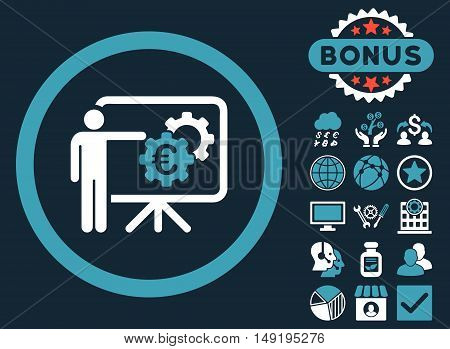 Euro Business Project Presentation icon with bonus pictures. Vector illustration style is flat iconic bicolor symbols blue and white colors dark blue background.