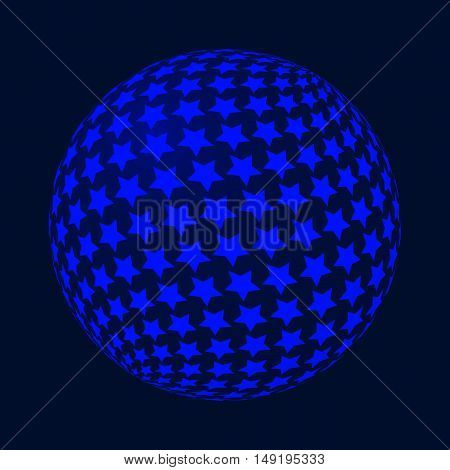 Abstract vector sphere with stars. Geometric Modern Technology Concept. Digital Data Visualization.