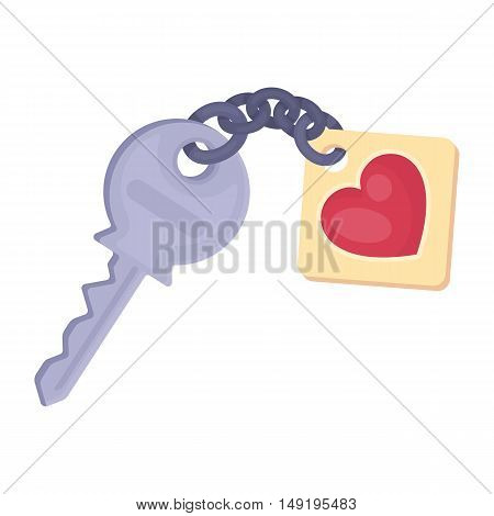 Key icon in cartoon style isolated on white background. Romantic symbol vector illustration.