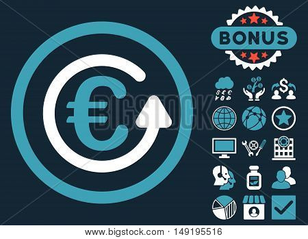Euro Chargeback icon with bonus elements. Vector illustration style is flat iconic bicolor symbols blue and white colors dark blue background.