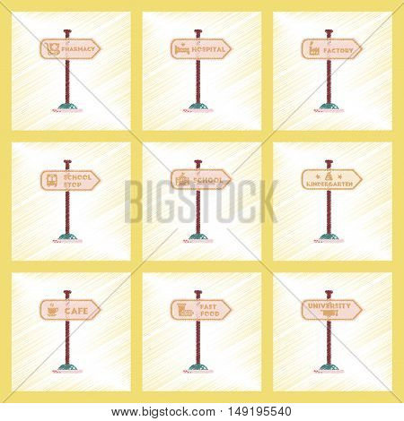 assembly flat shading style icons of University kindergarten school fast food stop pharmacy cafe hospital sign