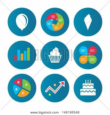 Business pie chart. Growth curve. Presentation buttons. Birthday party icons. Cake with ice cream signs. Air balloon symbol. Data analysis. Vector