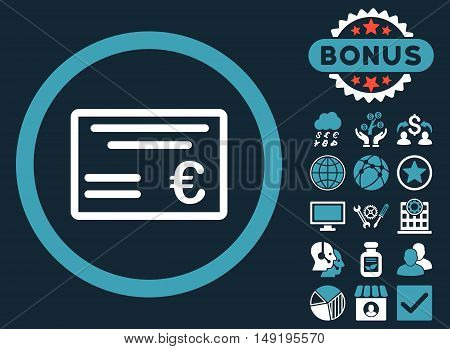 Euro Cheque icon with bonus images. Vector illustration style is flat iconic bicolor symbols blue and white colors dark blue background.