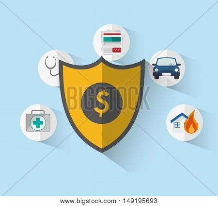 shield with insurance services related icons image vector illustration