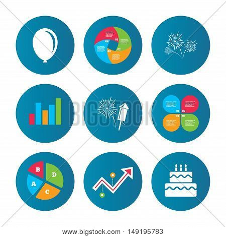 Business pie chart. Growth curve. Presentation buttons. Birthday party icons. Cake and gift box signs. Air balloon and fireworks symbol. Data analysis. Vector