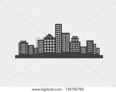 City Skyline icon black silhouette, vector illustration
