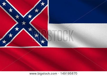 Flag of Mississippi state of United States. 3D illustration