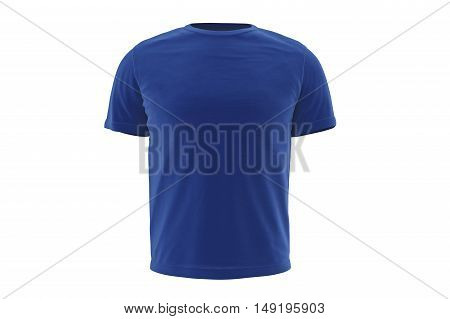 T-shirt mens blue style clothes, front view. 3D graphic