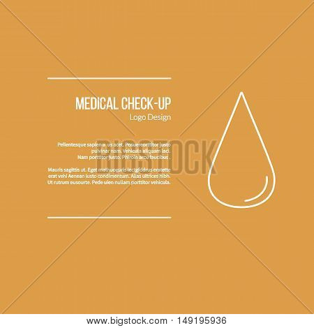 Blood droplet. Single logo in modern thin line style isolated on color background. Outline medical symbol. Simple mono linear pictogram. Stroke vector logotype template.