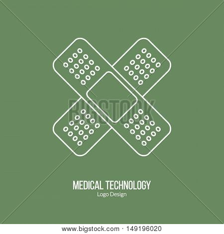 First aid bandage plaster patch. Single logo in modern thin line style isolated on green background. Outline medical symbol. Simple mono linear pictogram. Stroke vector logotype template.