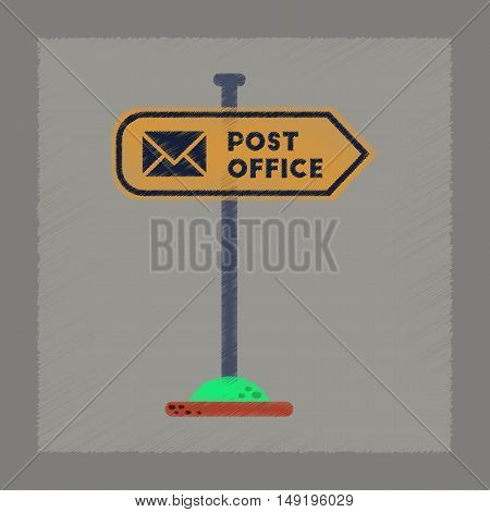 flat shading style icon of sign post office