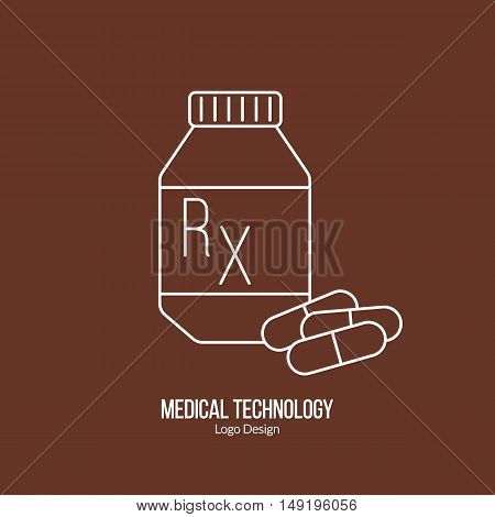 Prescription pill bottle capsule pills. Single logo in modern thin line style isolated on brown background. Outline medical symbol. Simple mono linear pictogram. Stroke vector logotype template.
