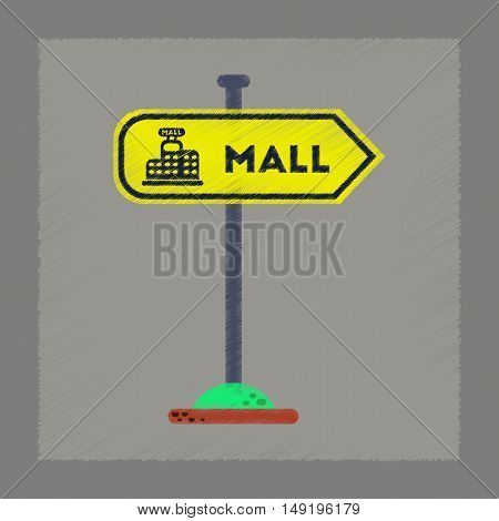 flat shading style icon of mall sign