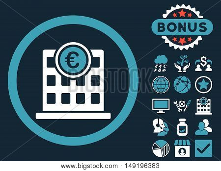 Euro Company Building icon with bonus pictogram. Vector illustration style is flat iconic bicolor symbols blue and white colors dark blue background.