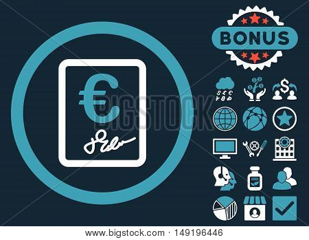 Euro Contract icon with bonus design elements. Vector illustration style is flat iconic bicolor symbols blue and white colors dark blue background.