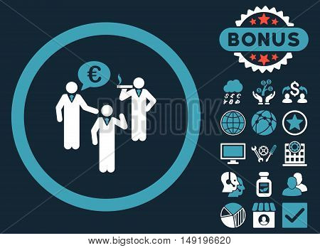 Euro Discuss Persons icon with bonus symbols. Vector illustration style is flat iconic bicolor symbols blue and white colors dark blue background.