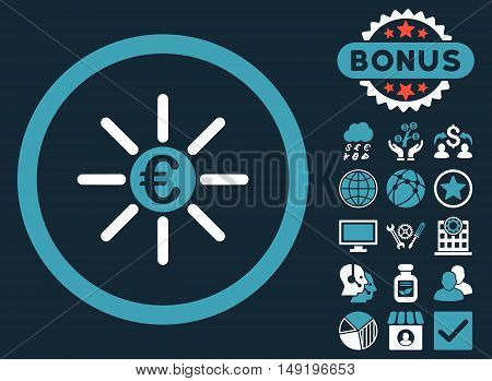 Euro Distribution icon with bonus symbols. Vector illustration style is flat iconic bicolor symbols blue and white colors dark blue background.