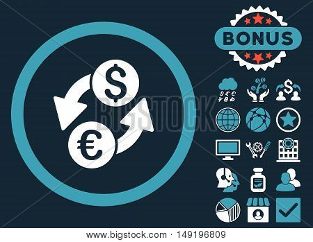 Euro Dollar Exchange icon with bonus elements. Vector illustration style is flat iconic bicolor symbols blue and white colors dark blue background.