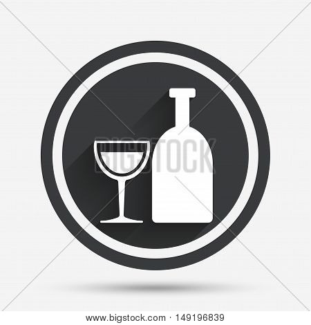 Alcohol sign icon. Drink symbol. Bottle with glass. Circle flat button with shadow and border. Vector