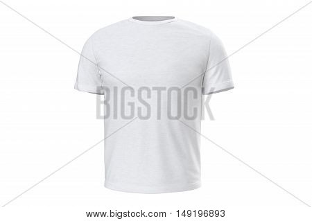 T-shirt mens white style clothes, front view. 3D graphic