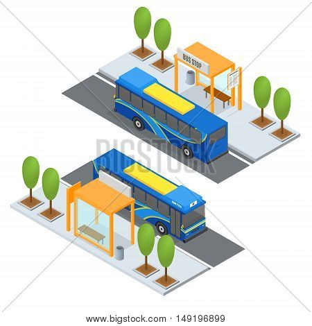Bus Station and Public Transportation. Isometric View. Vector illustration