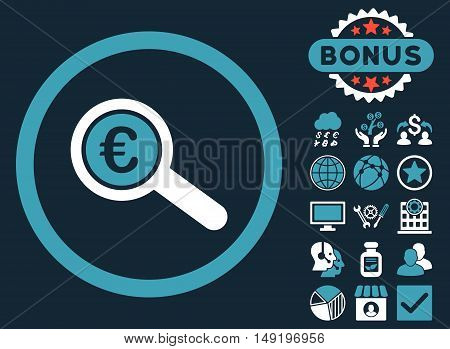 Euro Financial Audit icon with bonus pictures. Vector illustration style is flat iconic bicolor symbols blue and white colors dark blue background.