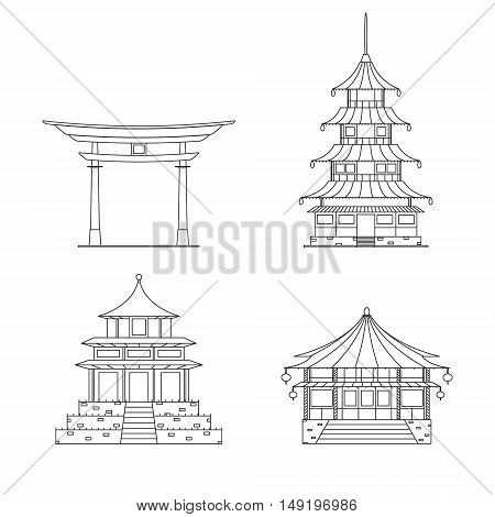 Chinees Building Thin Line Set. Typical Architecture. Vector illustration