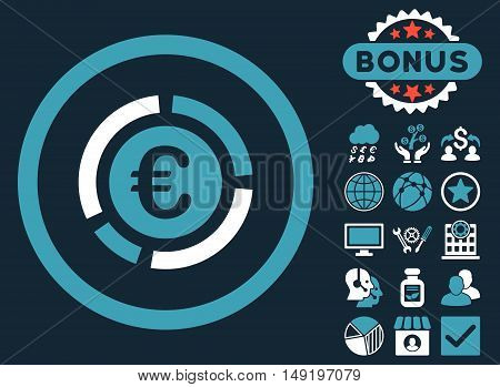 Euro Financial Diagram icon with bonus pictogram. Vector illustration style is flat iconic bicolor symbols blue and white colors dark blue background.