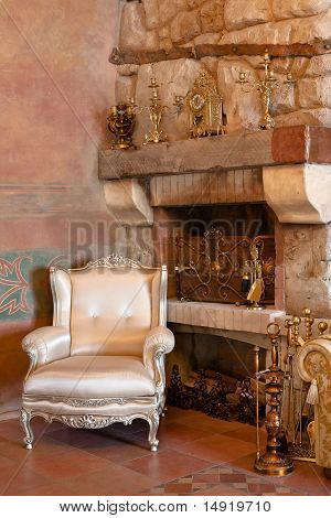 Interior With Furniture And Mantel