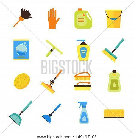 Colorful Cleaning Kit Icon Set. Flat Design Style. Vector illustration