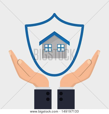 shield and house with insurance services related icons image vector illustration
