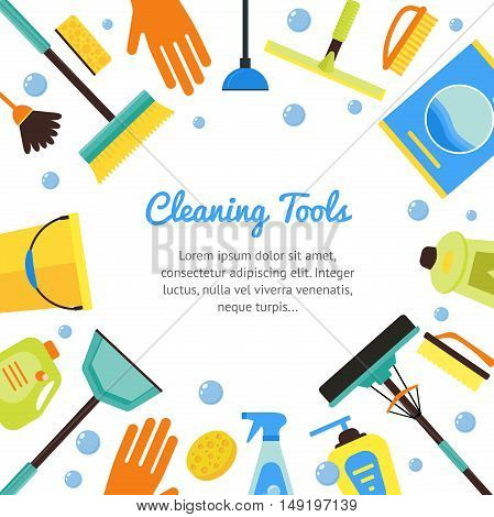 Cleaning Tools Banner for House Services. Flat Design Style. Vector illustration