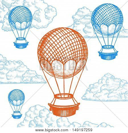 Fly Ballon on Sky Hand Draw Sketch. Transport Vintage Style Design. Vector illustration