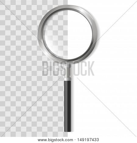 Magnifying Glass Zoom Tool on Transparent Background. Vector illustration