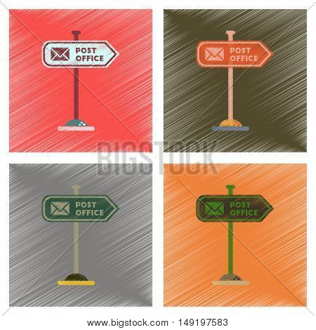 assembly flat shading style icons of sign post office