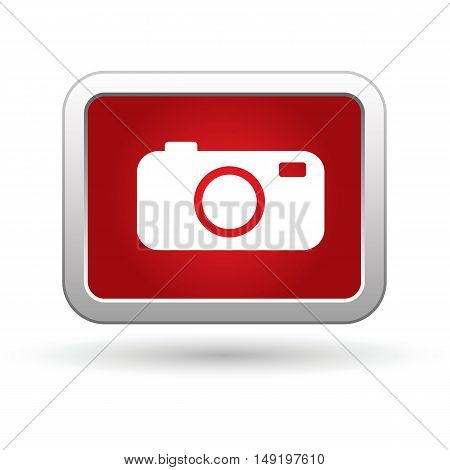 Camera icon on the red button. Vector