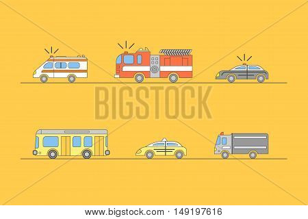 Colorful Car Thin Line Icons Set for Web on Background. City Services. Vector illustration