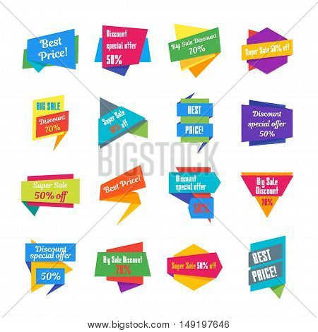 Trendy Colorful Geometric Label Collection. Vector illustration