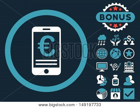 Euro Mobile Bank Account icon with bonus pictogram. Vector illustration style is flat iconic bicolor symbols blue and white colors dark blue background.