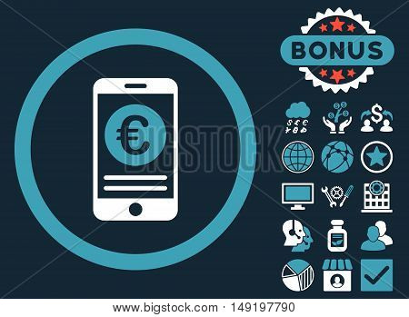 Euro Mobile Banking icon with bonus pictogram. Vector illustration style is flat iconic bicolor symbols blue and white colors dark blue background.