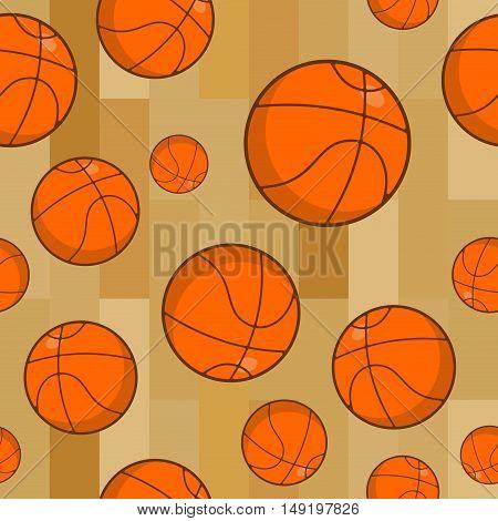 Basketball Seamless Pattern. Sports Accessory Ornament. Basketball Background. Orange Spherical. Tex
