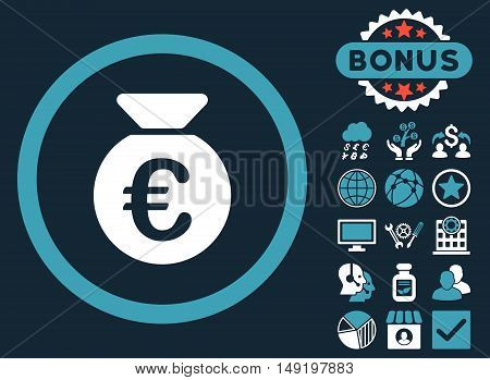 Euro Money Bag icon with bonus symbols. Vector illustration style is flat iconic bicolor symbols blue and white colors dark blue background.