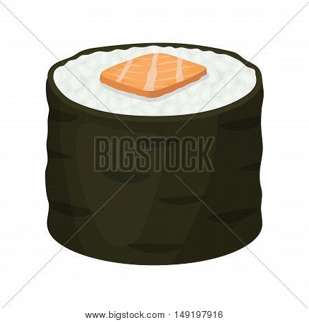 Norimaki icon in cartoon style isolated on white background. Sushi symbol stock vector illustration.