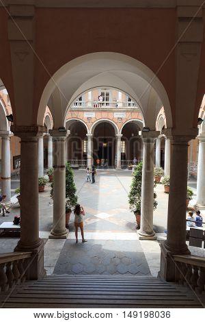 Inner Courtyard Of Palace Palazzo Doria Tursi, Genoa