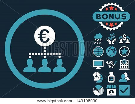Euro Payment Clients icon with bonus elements. Vector illustration style is flat iconic bicolor symbols blue and white colors dark blue background.