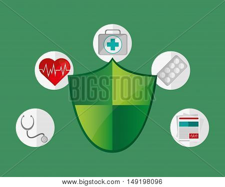 shield with health insurance services related icons image vector illustration