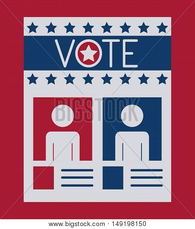 Card paper icon. Vote election nation and government theme. Colorful design. Vector illustration