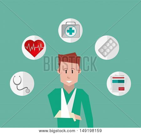 happy injured man with insurance services related icons image vector illustration